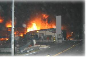 工場火災 枚方市池之宮4丁目